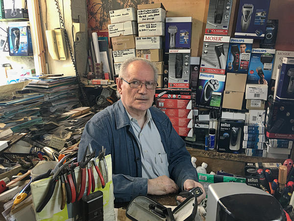 73-year-old Jacques Guillaume has been repairing electric razors in Paris since 1962.