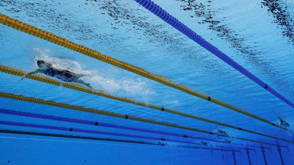 Katie Ledecky leads the field by a wide margin in the women's 800m freestyle final on Day 7 of the Rio 2016 Olympic Games at the Olympic Aquatics Stadium. It was Ledecky's last event in Rio.