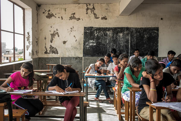 Girls study at a high school in the city of Jodhpur. Their tuition and board are paid for by a charity called the Veerni Institute. When the organization first tried to recruit students in Durga's village, Lumbaram was the only father to say yes.