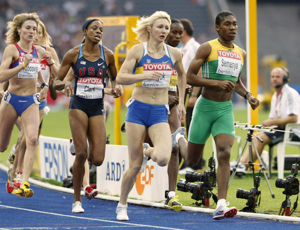 U.S. runner Hazel Clark (second from left) competes with Caster Semenya (right) during a women's 800-meter semifinal at the World Athletics Championships in Berlin on Aug. 17, 2009.