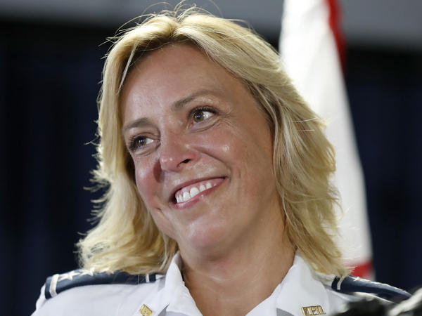Washington, D.C., Chief of Police Cathy Lanier speaks during a news conference to announce she is stepping down to become head of security for the National Football League.