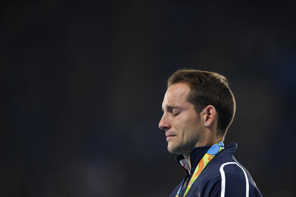 France's Renaud Lavillenie was moved to tears by the crowd's booing during the medal ceremony for the men's pole vault on Wednesday. Lavillenie won silver in the event.