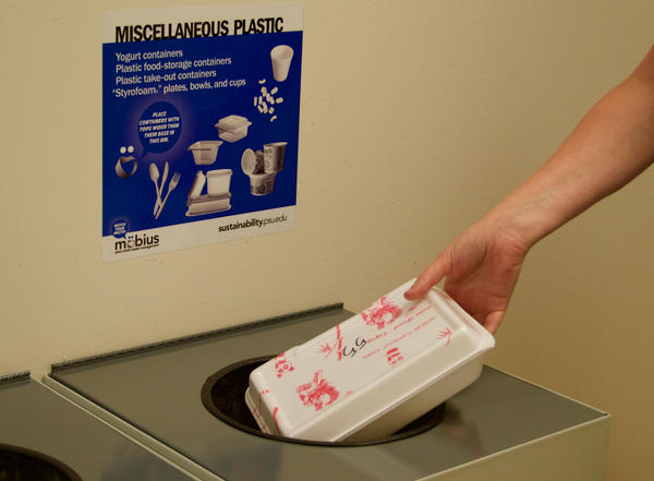 """Penn State's recycling bins still list """"Styrofoam,"""" but the university recently announced it will no longer be recycling it."""