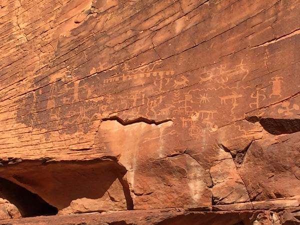 Native American tribes have been documenting a recent rise in vandalism and other damage to ancient petroglyphs and other artifacts in Gold Butte. Here, two bullet holes were pocked into a carving.