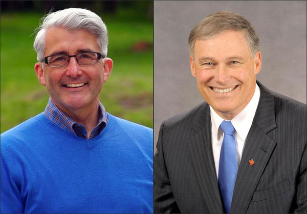 Republican Bill Bryant, left, and Democrat Jay Inslee squared off Wednesday in their first gubernatorial debate.
