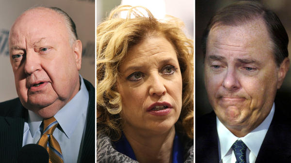 (Left to right) Former Fox News chief Roger Ailes in 2012; Rep. Debbie Wasserman Schultz in 2015; and former Enron Chief Executive Jeffrey Skilling in 2006.