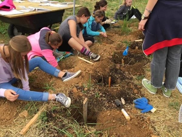 <p>Students from a science camp for girls are exhuming buried sheep kidneys so they can study decomposition.</p>