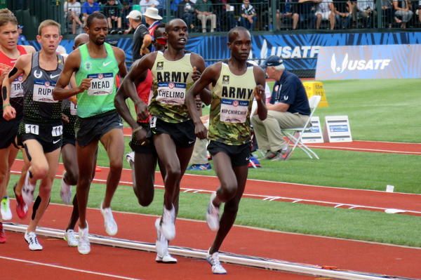 Two members of the U.S. Army lead the pack in the 5,000 meters at the U.S. Olympic Trials in July in Eugene, Ore. Shadrack Kipchirchir (right), did not make the team in the 5,000, but did qualify in the 10,000. Paul Chelimo (second from right), qualified in the 5,000 and won a silver medal in Rio on Saturday night.