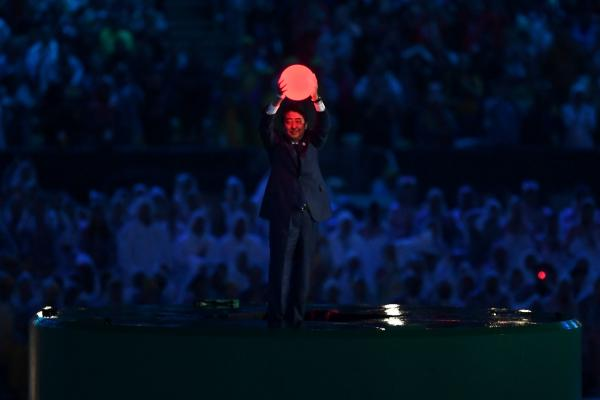 Japan's Prime Minister Shinzo Abe appears during the closing ceremony.