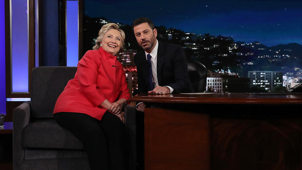 Democratic presidential nominee Hillary Clinton talks with Jimmy Kimmel at the taping of his ABC talk show on Monday in Los Angeles.