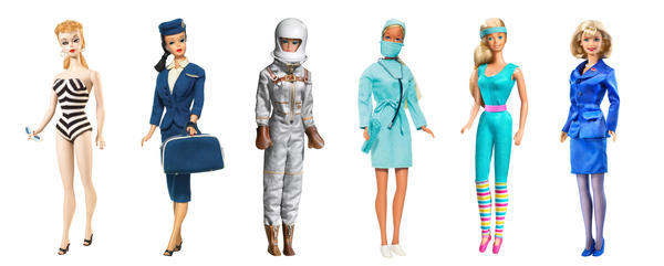 Barbie has held many occupations over the years. From her beginnings in 1959 (left), she's been a flight attendant (1961), an astronaut (1965), a surgeon (1973), an aerobics instructor (1984) and a presidential candidate (2000).