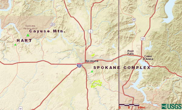 The Hart Fire is burning on the Spokane Indian Reservation, approximately 35 miles northwest of Spokane.