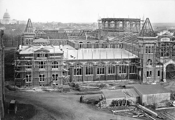 The Arts and Industries Building, shown while under construction in 1879.
