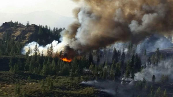 The Hart Fire is burning on the Spokane Indian Reservation, approximately 50 miles north of Spokane.