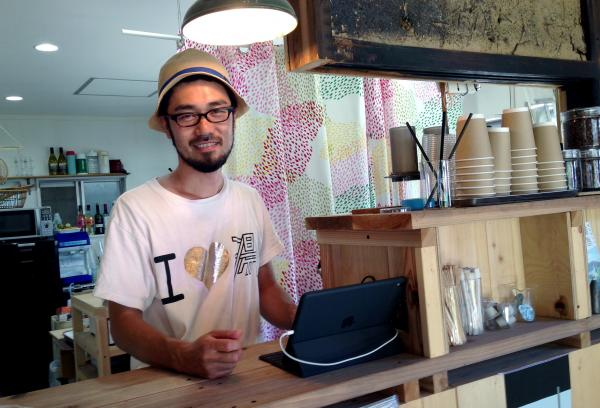 Masaaki Yamagishi, 38, owns Shimacoya, a business on the island that is part cafe, part bookstore, part campground and part community center, where neighbors gather to learn English or watch movies.