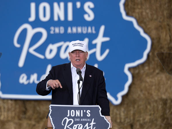 Donald Trump speaks at Sen. Joni Ernst's Roast and Ride Fundraiser on the Iowa State Fairgrounds in Des Moines, Iowa.