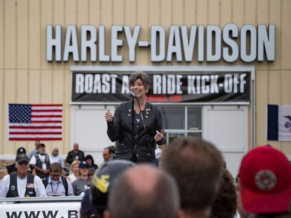 Sen. Joni Ernst welcomes riders at the Harley Davidson Barn for her second annual Roast and Ride fundraiser.