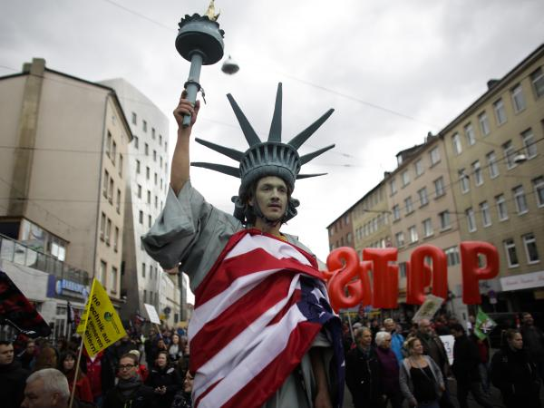 Protesters demonstrate against the Transatlantic Trade and Investment Partnership in Germany, in April. Officials conceded that opposition to trade agreements is building on both sides of the Atlantic.
