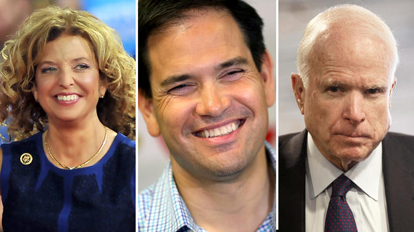 Rep. Debbie Wasserman Schultz (from left), Sen. Marco Rubio and Sen. John McCain.