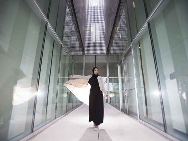 A model poses in some of the modest wear available at Verona.