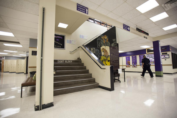 A central staircase at the main entrance of LBJ High School. The stairs serve as a link between LBJ High School on the ground floor and LASA upstairs.