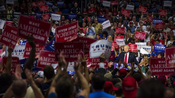 Republican Presidential candidate Donald Trump addresses supporters in Akron, Ohio, on Aug. 22.