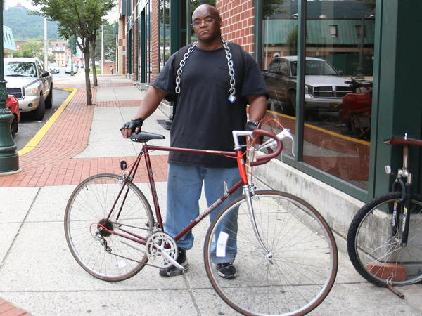 Harrison Walker, 54, lives in Reading and doesn't own a car, so he bikes everywhere.