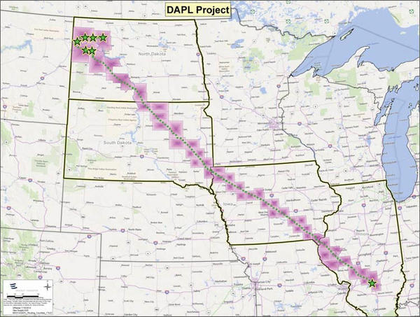 The proposed route of the 1,100-mile, 30-inch diameter Dakota Access Pipeline that will connect oil production areas in North Dakota to Patoka, Illinois.