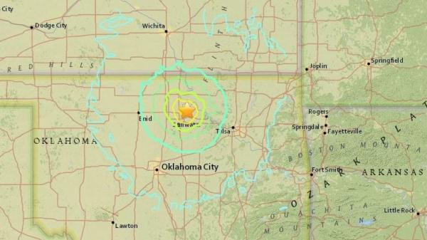 A map shows the recorded location of a strong earthquake that struck west of Tulsa Saturday morning.