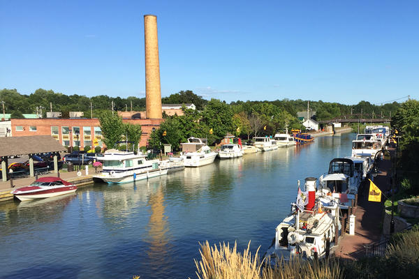 Pleasure boats are docked along the Erie Canal in Fairport, N.Y. Some are asking whether the canal is worth subsidizing now that it's no longer a major commercial waterway.