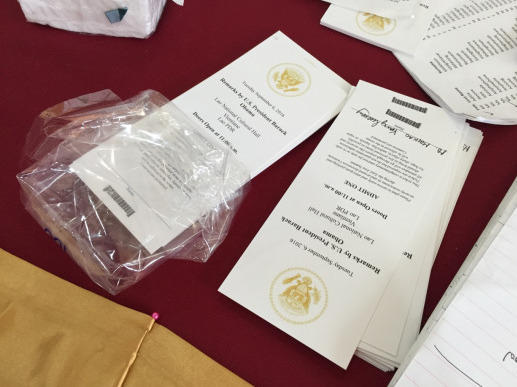 The U.S. Embassy passed out tickets on Sunday at the National Cultural Hall, for Obama's speech.