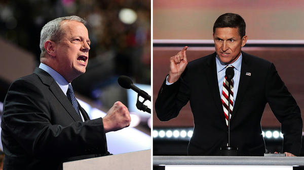 L: Retired U.S. Marine Gen. John Allen speaks at the 2016 Democratic National Convention on July 28 in Philadelphia. R: Retired Army Lt. Gen. Mike Flynn delivers a speech at the Republican National Convention on July 18 in Cleveland.