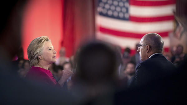 Hillary Clinton speaks with <em>T</em><em>oday</em> co-anchor Matt Lauer at the NBC Commander-In-Chief Forum on Wednesday night. Donald Trump appeared on the forum following Clinton.