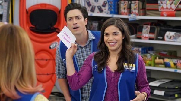 Vested Interests: Gemma (America Ferrera) and Jonah (Ben Feldman) in the NBC sitcom, <em>Superstore</em>.