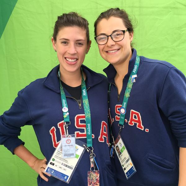 "Fencer Kelley Hurley (left) with teammate Kat Holmes at the Olympics in Rio in August. ""You feel a little empty"" after the games, says Hurley, expressing a sentiment felt by many athletes who prepared for years."
