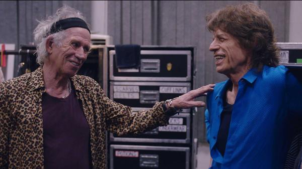 Keith Richards and Mick Jagger in <em>Rolling Stones<strong> </strong>Olé Olé Olé! : A Trip Across Latin<strong> </strong>America.</em>