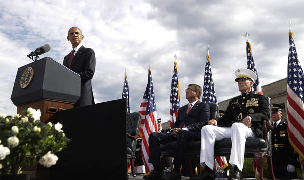 President Barack Obama speaks at a memorial observance ceremony at the Pentagon on Sunday.