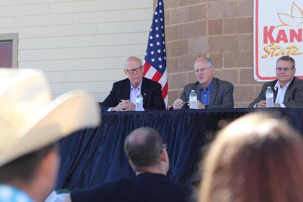 U.S. Sen. Pat Roberts, left, speaks on a panel with House Ag Committee Chairman Mike Conaway and KSU agriculture economist Allen Featherstone at the Kansas State Fair.