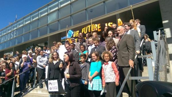 <p>Youth plaintiffs and their lawyers rallied and held a press conference on the steps of the Federal Courthouse in Eugene.</p>