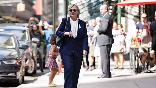 Democratic presidential nominee Hillary Clinton leaves her daughter's apartment building earlier this week after becoming dehydrated at a Sept. 11 memorial service.