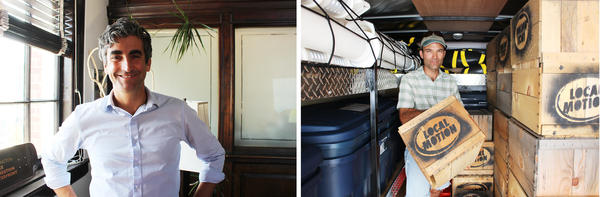 (Left) Mayor Miro Weinberger wants Burlington to be best biking city on the East Coast. (Right) Jason Van Driesche stands in Local Motion's trailer full of tactical urbanism supplies. Van Driesche believes DIY methods can spur permanent change.