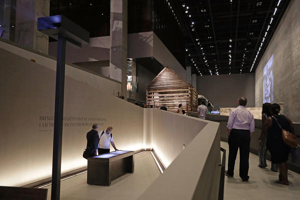 A series of long ramps guide visitors through the exhibits in the lower levels of the Smithsonian's National Museum of African American History and Culture.