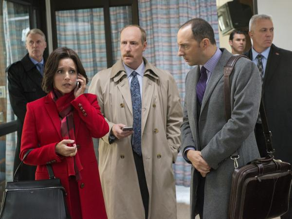 "L to R: Julia Louis-Dreyfus, Matt Walsh and Tony Hale in the <em>Veep </em>episode, ""Mother."""