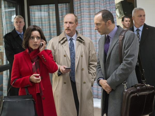 """L to R: Julia Louis-Dreyfus, Matt Walsh and Tony Hale in the <em>Veep </em>episode, """"Mother."""""""