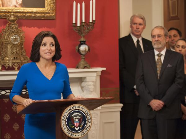 Julia Louis-Dreyfus and Martin Mull in <em>Veep</em>.