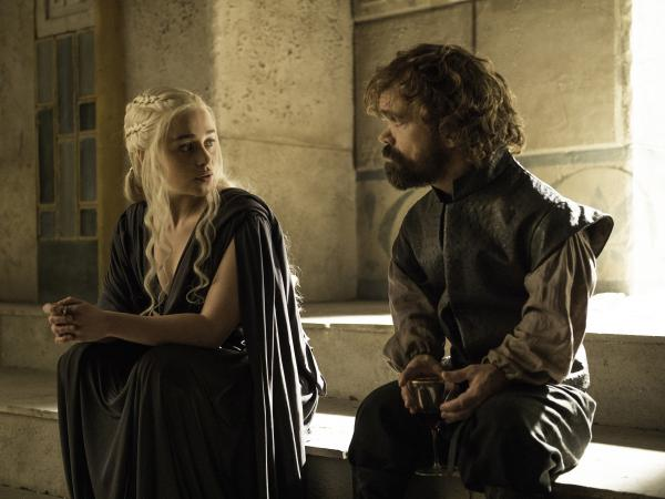 Emilia Clarke and Peter Dinklage in <em>Game of Thrones</em>.