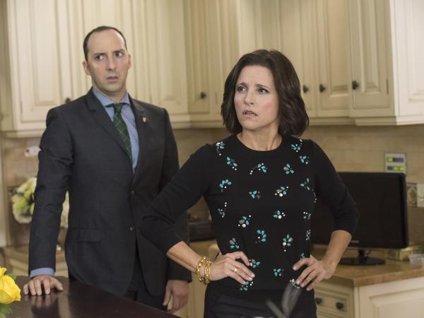 """Tony Hale and Julia Louis-Dreyfus in the <em>Veep</em> episode, """"Mother."""""""