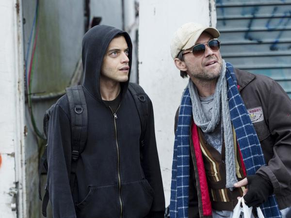 Rami Malek and Christian Slater in <em>Mr. Robot</em>.