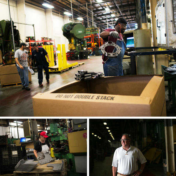 (Top) Workers on the factory floor at Pentaflex, a manufacturer of parts for heavy trucks, in Springfield. (Left) Kelly Curtis assembles parts at Pentaflex. (Right) Ross McGregor, the company's executive vice president, says many of the company's processes have been automated.