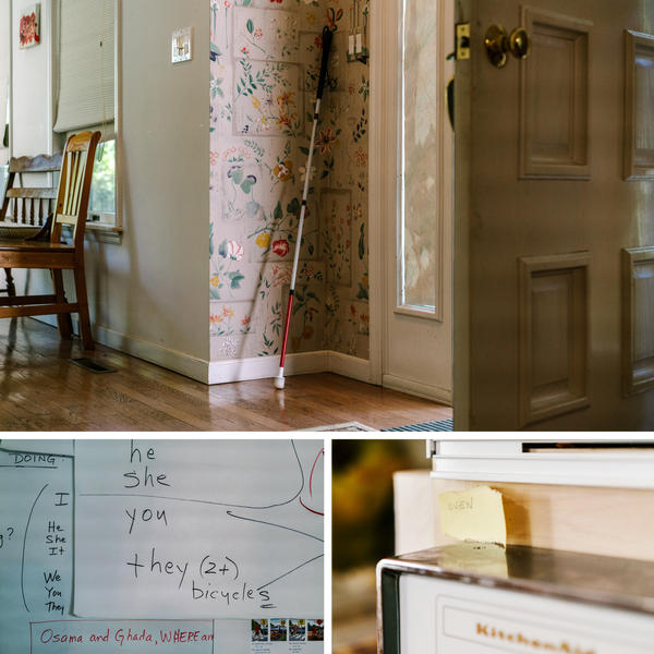 (Top) Osama's cane stands next to the door, ready for a walk. (Left) Some of the English-language signs that adorn the walls of the room in their house, where ESL classes take place each day. (Right) One of many small post-its stuck to appliances throughout the house, labeling things with their English names to help the family learn.